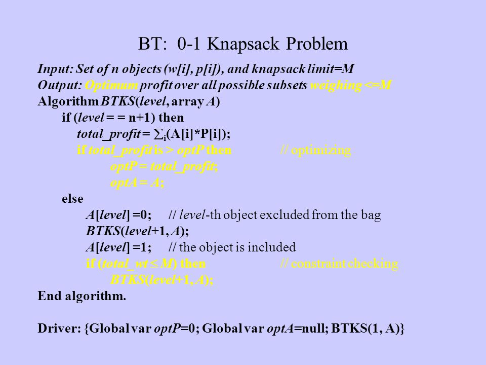 BT: 0-1 Knapsack Problem Input: Set of n objects (w[i], p[i]), and knapsack limit=M. Output: Optimum profit over all possible subsets weighing <=M.